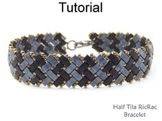 2 Hole Miyuki Half Tila RicRac Basket Weave Herringbone Beaded Bracelet Beading Pattern Tutorial | Simple Bead Patterns