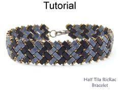 2 Hole Miyuki Half Tila RicRac Basket Weave Herringbone Beaded Bracelet Beading Pattern Tutorial | Simple Bead Patterns