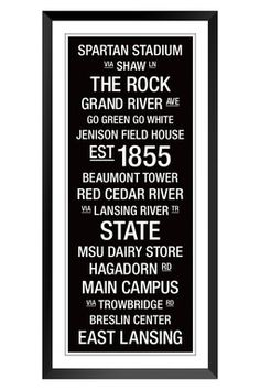 Need this for the basement bar  Michigan State University College Town Wall Art