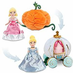 Disney Cinderella and Pumpkin Coach Transforming Plush Set - You don't need a fairy godmother to make dreams come true. These reversible, soft plush toys can be turned inside-out to change party dress and pumpkin into ballgown and coach with a touch of magic from you!This is beyond awesome!!