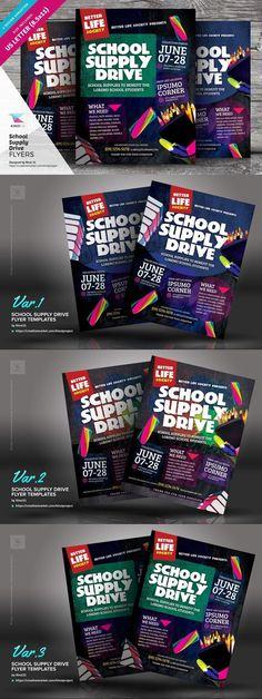 School Supply Drive Flyer Templates #device #nightpartyflyer #christmasflyer #travelflyer #postertemplate #ad #FlyerTemplate #elegentflyer #magazine #multipurpose #flyers #festiveflyer #creative #clean #psdfile #blossom #beautiful #FlyerTemplates #event
