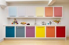 Look! Multi-Colored Kitchen Cabinets