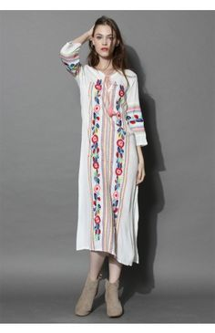 Boho Blossom Maxi Crepe Dress in White - Dress - Retro, Indie and Unique Fashion
