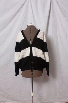 Vintage Striped Sweater Cardigan (L)
