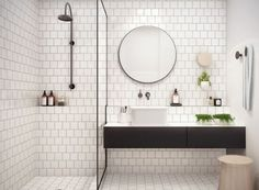 I like the simple, inexpensive tile brick pattern with the light gray grout.