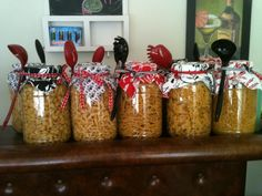 Centerpiece for Itailan themed shower that doubled as guess the name of the pasta game