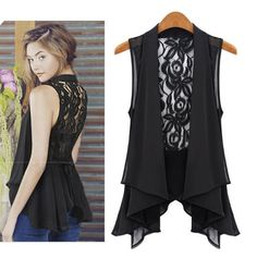 Fashion Women's Medium Vest Lace Back Sleeveless Pleated Hem Chiffon Blouse