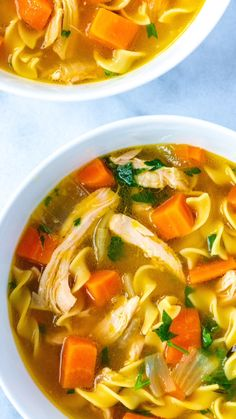 This easy homemade chicken noodle soup recipe is healthy, satisfying, and tastes incredible. It's faster than the traditional version, too! By swapping whole chicken with chicken thighs, you can make this soup from scratch in under 40 minutes! Easy Homemade Chicken Noodle Soup Recipe, Beef Soup Recipes, Healthy Diet Recipes, Ground Beef Recipes, Chicken Recipes, Cooking Recipes, Vegetarian Recipes, Noodle Recipes, Vegetarian Noodle Soup