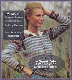 Vintage Norwegian Sweater SNOWSTAR Knitting Pattern #KNW101 Pattern:NOT ITEM #PrintedPaperPatternDurhamDeals Fair Isle Knitting, Easy Knitting, Sweater Knitting Patterns, Knitting Designs, Norwegian Knitting, Original Vintage, Vintage Knitting, Mantel, Norway
