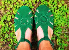 Women's Shoes - Super cute emerald suede leather mini wedges for ☼Spring☼!