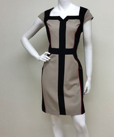This Beige & Black Panel Notch Neck Dress by Voir Voir