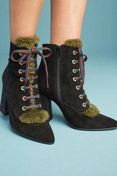 Slide View: 3: Anthropologie Suede Lace-Up Boots
