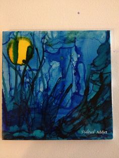 Underwater moon, alcohol ink, sea grass - alcohol ink coasters