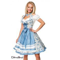 4925ccc4ee6a Tyroler   Oktoberfest kjole i blå og hvid med blomster Oktoberfest