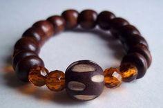 Brown wood and orange rhinestones bracelet by sweetiebel on Etsy, $17.00