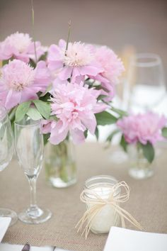 Close up of pink flower centerpieces