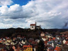 Blick vom Gernerfels zur Burg, Gößweinstein, Fränkische Schweiz, Bayern, Deutschland
