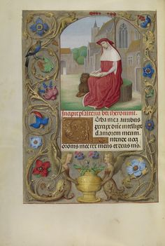 Title:  Saint Jerome Reading Artist/Maker(s):  Workshop of Master of the First Prayer Book of Maximilian (Flemish, active about 1475 - 1515) Culture:  Flemish Place(s):  Bruges Belgium Ghent Belgium (Place created) Date:  about 1510 - 1520 Medium:  Tempera colors, gold, and ink on parchment