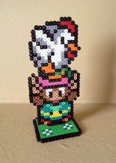 The Legend of Zelda - A Link To The Past Inspired 3D Link and Cucco via eb.perler. Click on the image to see more!