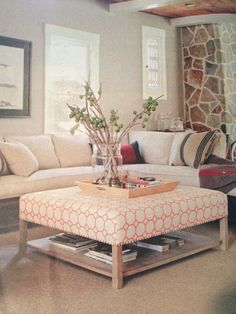 upholstered coffee table with shelf