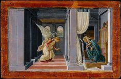 Sandro Botticelli The Annunciation, , Metropolitan Museum of Art, New York. Read more about the symbolism and interpretation of The Annunciation by Sandro Botticelli. Giorgio Vasari, Sandro, Renaissance Kunst, Italian Renaissance, Angelus, Michelangelo, Italian Painters, European Paintings, Italian Art