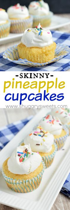 These 3 ingredient, Skinny Pineapple Cupcakes are the easiest, most perfect dessert! One guilt free bite and you'll know why this recipe is so popular!