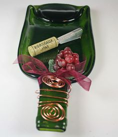 Flattened Slumped melted wine bottle Recycled  by GibsonPottery, $24.00