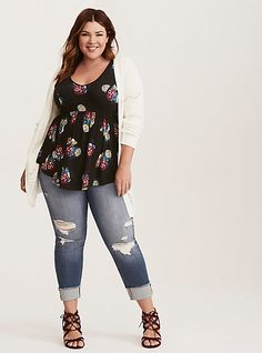 Women's Floral Print Elbow Sleeve Open-Front Kimono Jacket - Knox Rose Red M/L, Women's, Size: Small, White Plus Zise, Mode Plus, Curvy Outfits, Casual Outfits, Fashion Outfits, Curvy Girl Fashion, Plus Fashion, Womens Fashion, Plus Size Dresses