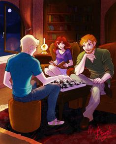 Scorpius playing chess with Ron. This makes me happy. Altough I am still convinced that Draco ended up with Hermione so...