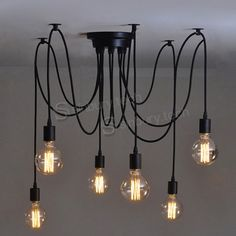 Vintage Multiple Ajustable DIY Ceiling Spider Lamp Light Pendant Lighting Edison