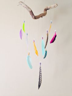 Colorful Boho Feather Mobile // Driftwood and by InspiredSoulShop