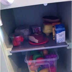 Play kitchen fridge stocked with goodies, felt, plastic fruit and veg and cartons. Wooden Play Kitchen, Diy Kitchen, Kid N Play, Fridge Shelves, Felt Food, Fruit And Veg, Goodies, Plastic, Oven