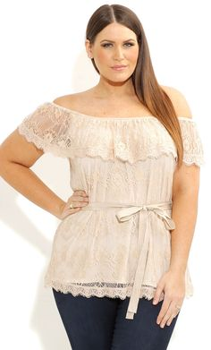 City Chic - LACE FRILL SHOULDER TOP - Women's plus size fashion