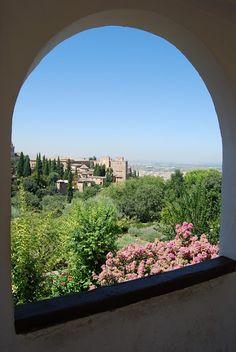 Granada, Alhambra, Spain, Park, Window, Landscape