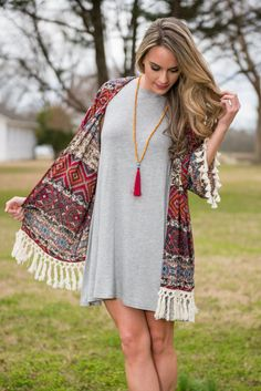 """Mad Love Kimono, Brick"" 
