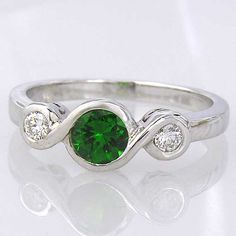 $499 Tsavorite Green Garnet and Diamond Engagement Ring by ChadaSoph    (WOW) I knew I had good taste but didn't expect such high priced taste!