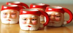 Santa Mugs  Set of 5 Japan by RSWVintage on Etsy, 22.00