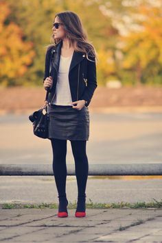 look of the day: red green black | Emily Salomon