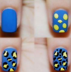 Blue yellow Cheetah Nails