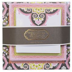 Turkish Delight Triple Note Pad set by Anna Griffin.  Beautiful pink, soft yellow, and soft charcoal print.  3 different sizes of gorgeous notepads.  Available at UrbanGirl. http://www.urbangirl.com/Products/Anna-Griffin-Turkish-Delight-Triple-Pad__ANABP213.aspx