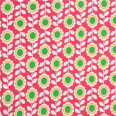hot pink Robert Kaufman knit fabric with flowers Laguna 2