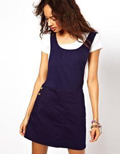 Image 1 ofASOS Denim Pinafore Dress in Dark Navy
