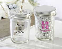PERSONALIZED PRINTED GLASS MASON JAR – WEDDING