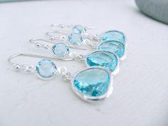Silver Aquamarine Earrings,Bridesmaid Aquamarine Earring Sets,Swarovski Crystal Earrings,Aquamarine,Earrings,Wedding Jewelry,Beach Wedding by LetItBeLove on Etsy