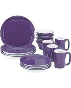 Rachael Ray Dinnerware Round and Square 16 Piece Dinnerware Set Purple New Sets Purple Dinnerware, Stoneware Dinnerware Sets, Square Dinnerware Set, Tableware, Kitchenware, Casual Dinnerware, Dinnerware Ideas, Serveware, Purple Love