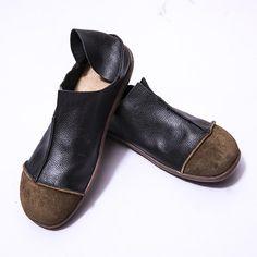 Fashionable Leather Retro Splicing Black Women Single Shoes