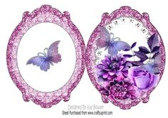 pretty purple painted roses on lace ornate frame with butterflies on…