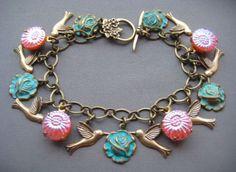 Hummingbird Bracelet - Hummingbird Jewelry - Vintage Button Bracelet - Victorian Garden Jewelry - Spring Jewelry - Coral and Mint Jewelry by SilverTrumpetJewelry on Etsy