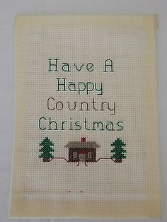 """Cross Stitch Completed 5X7"""" Have A Happy Country Christmas Unframed Cabin Trees"""