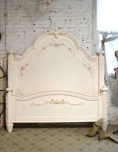 Painted Cottage Chic Shabby Pink Wash Queen Romance Bed [PK-AD] - $2,095.00 : The Painted Cottage, Vintage Painted Furniture